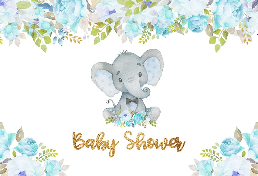 Vinyl Photography Backdrops blue flowers elephant baby shower birthday party Photo Background Studio Props