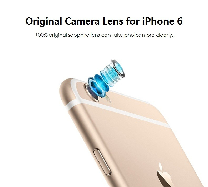 100% Original for Apple iPhone 6 Camera Lens; Sapphire Crystal Back Camera Glass Lens with Frame for iPhone 6 4.7 inch 2