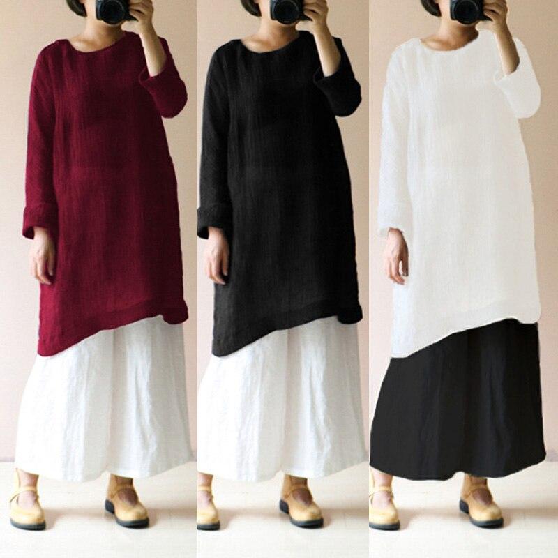Celmia Oversized Autumn Women Long Sleeve Linen Blouses Shirt Female Ladies Casual Vintage Shirt Long Tops Blusa Femininas S-5XL