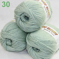 LOT Of 3 Skeins X 50gr DK Silk Wool Cashmere BABY Hand Knitting Yarn Green Gray
