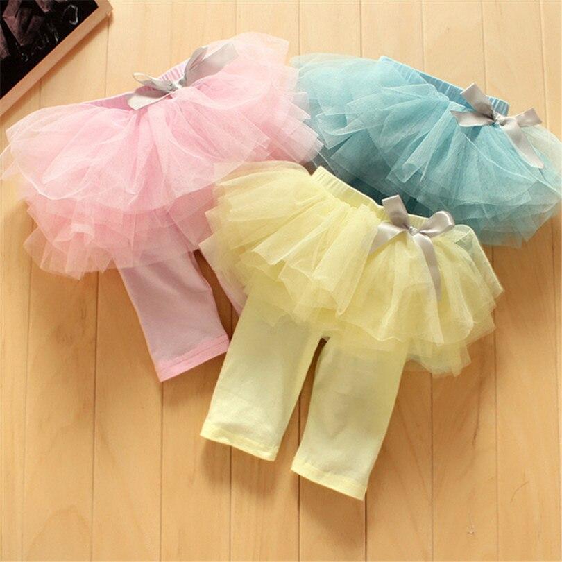 2017 Fashion Baby Girl Culottes Leggings Gauze Pants Party Skirts Bowknot Tutu Skirts Blue/Pink/Yellow