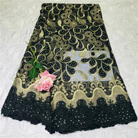 French Lace Fabric With Beads Green African cotton Lace Fabric High Quality 2018 Net Lace Nigerian Material Dress WD030610