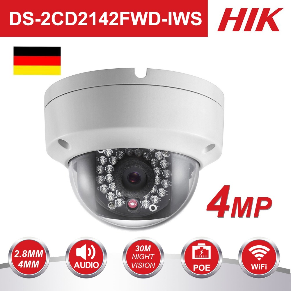 Original Hikvision 4MP WiFi Camera DS 2CD2142FWD IWS MINI Wireless Dome IP Camera Support Audio and