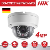 Original Hikvision 4MP WiFi Camera DS 2CD2142FWD IWS MINI Wireless Dome IP Camera Support Audio and Alarm I/O PoE IP Camera