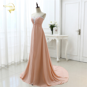 Image 3 - vestido de festa vestido longo 2020 Open Leg Lace up Sweetheart Neck Beading Crystal Formal Long Chiffon Evening Dresses OL4311