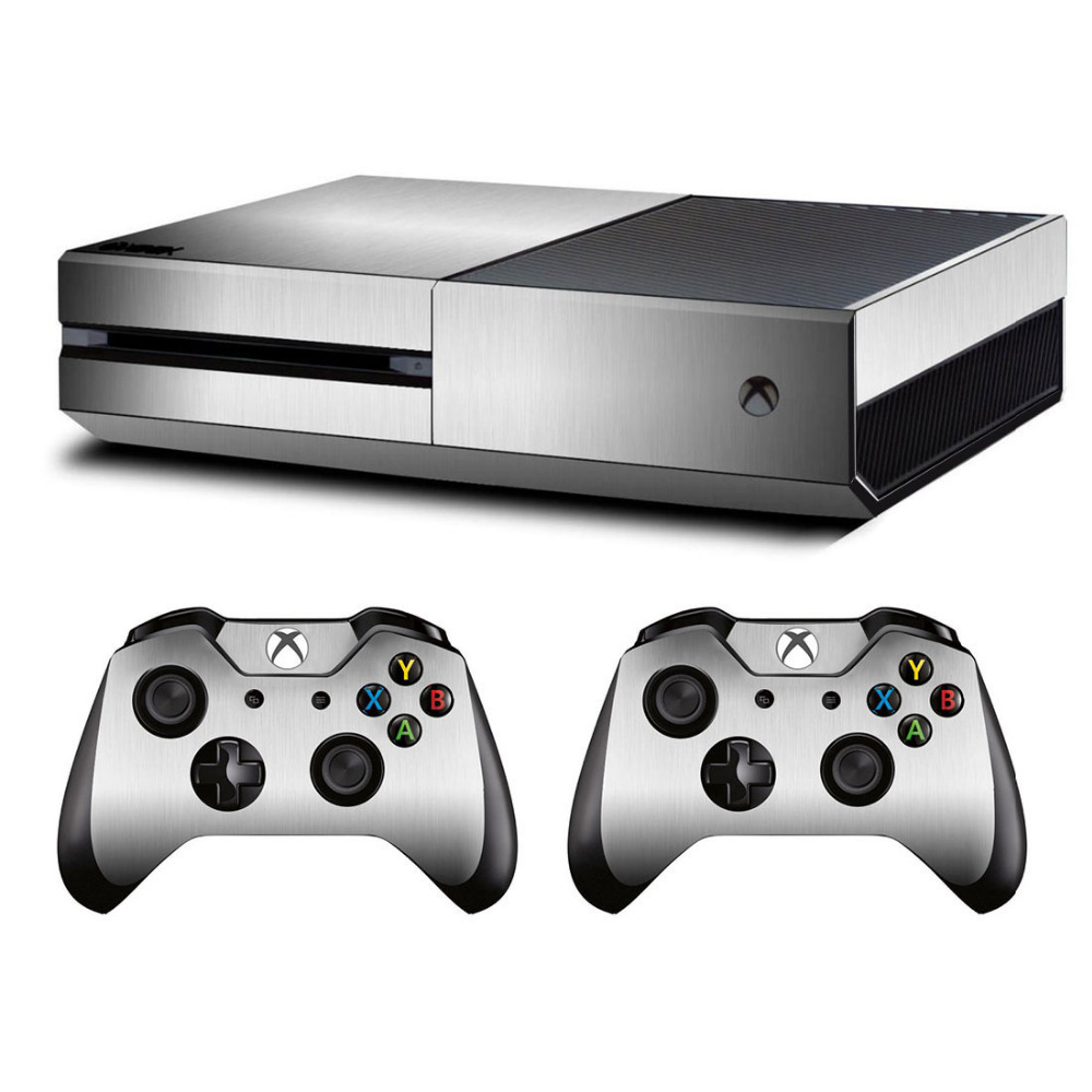 Metal Brushed Skin Sticker Decal For Microsoft Xbox One Console And Kinect And 2 Controllers For Xbox One Skin Sticker Vinyl