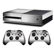 Metalowa szczotkowana skórka naklejka naklejka na konsola Xbox One z systemem Microsoft i Kinect i 2 kontrolery na Xbox One skórka naklejka Vinyl