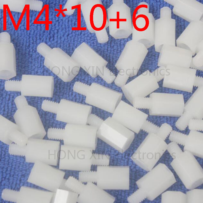M4 * 10 + 6 Branco 1 pcs Nylon Standoff Spacer Standoff M4 Padrão Plástico Macho-Fêmea 10mm Kit de Reparação Conjunto de Alta Qualidade