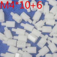 M4*10+6 White 1pcs Nylon Standoff Spacer Standard M4 Plastic Male-Female 10mm Standoff Kit Repair Set High Quality