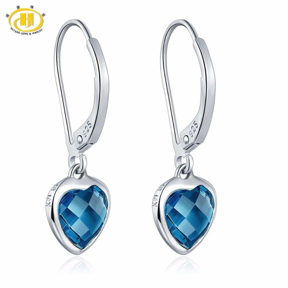 Hutang Stone Jewelry Real London Blue Topaz Gemstone 925 Sterling Silver Drop Dangle Heart Earrings Fine