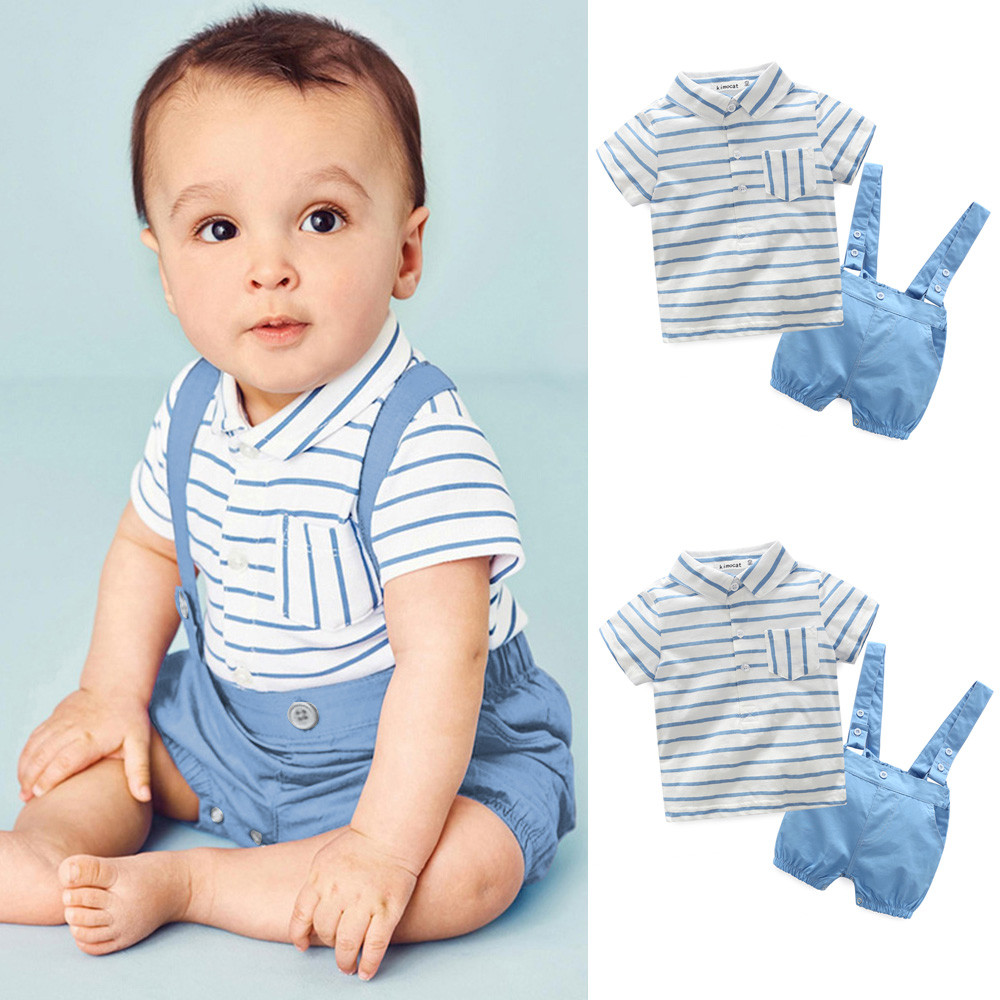 Gentleman Summer Clothes Set Baby Boys 2Pcs Fashion Striped T Shirt Short Sleeve Tops+Suspenders Shorts Sets Outfit 2018(China)