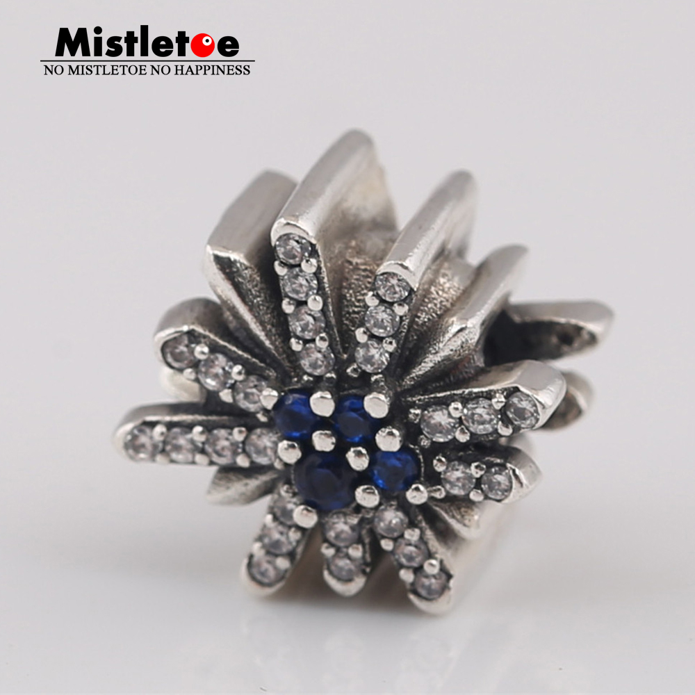 Mistletoe 925 Sterling Silver Dazzling Fireworks Charm,clear Cz & Blue Crystal Fit European Bracelet Jewelry Quality And Quantity Assured