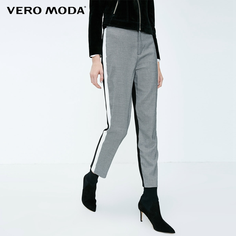 Vero Moda 2019 New Women's Houndstooth Splice Front Zip Plaid Stretch Pants | 318350519