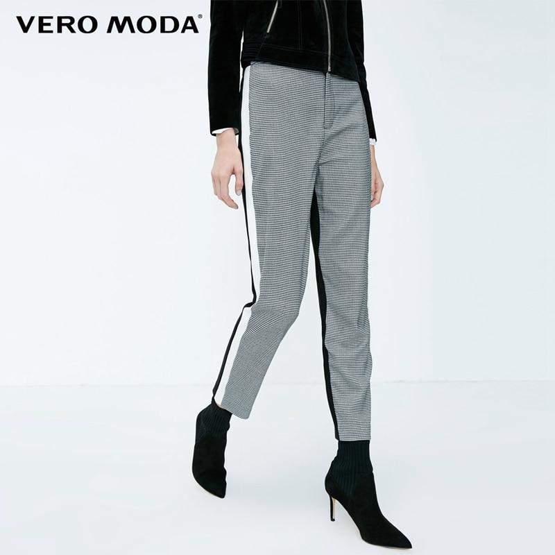 Vero Moda New Women's Houndstooth Splice Front Zip Plaid Stretch Pants | 318350519
