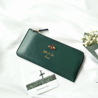 Lady Little Bee Genuine Leather Oil Wax Cowhide Long Section Wallet Female Ultra Thin Retro Zipper