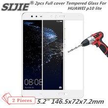 2pcs Full cover Tempered Glass For HUAWEI p10 lite nova p10lite screen protective smartphone 9H toughened black White gold