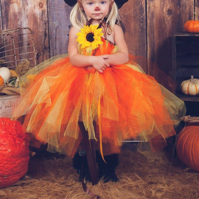 cf7b03c520439f Jesień dynia czarownica dziewczyna Tutu sukienka kostium na Halloween dla  dzieci kwiaty suknia balowa Party sukienki święto dziękczynienia, sukienka,  ...