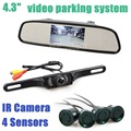 DIYKIT 3 in 1 DIY 4.3 Inch Rear View Car Mirror Monitor Kit + Video Parking Radar + IR Ccd Car Camera Parking Assistance System