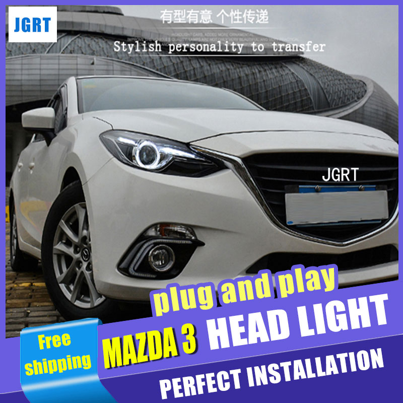 Car Styling Head Lamp for Mazda 3 led headlight assembly 2014-2016 New Mazda3 Angel eye led H7 with hid kit 2 pcs. car styling head lamp for bmw e84 x1 led headlight assembly 2009 2014 e84 led drl h7 with hid kit 2 pcs