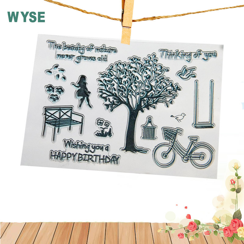 11*16 Chair Bike Girl Tree Clear Stamp Transparent rubber stamp DIY kids Clear stamps for Scrapbooking craft stamp Decor tools