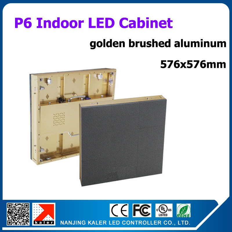 TEEHO Golden brushed aluminum indoor led display panel p6 576x576mm 96x96 dots high quality rental indoor led display video wall