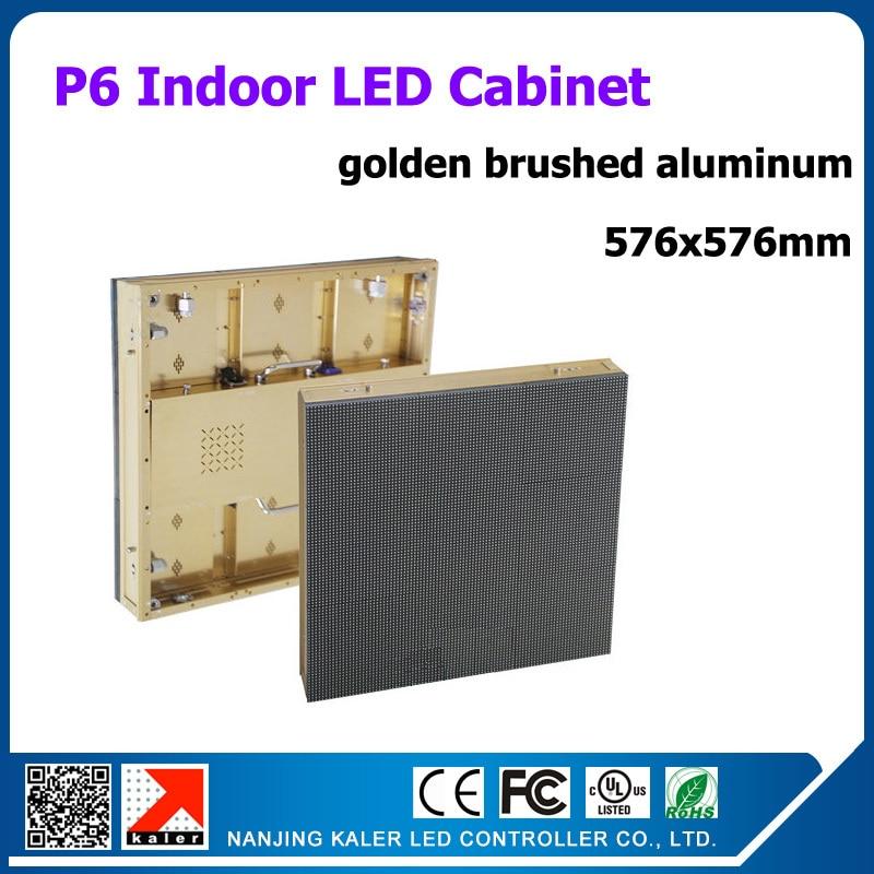Panneau daffichage led dintérieur en aluminium brossé doré tiho p6 576x576mm 96x96 points mur vidéo daffichage led dintérieur de location de haute qualité
