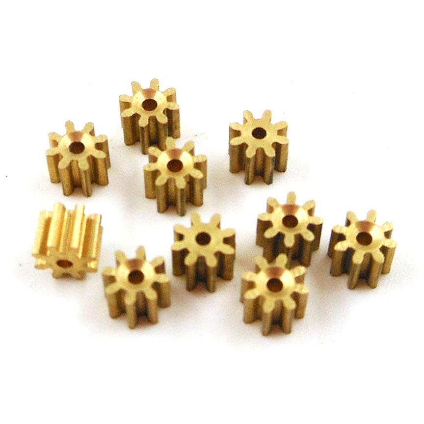 81A 0.3M Brass Gear 8 Teeth Aircraft Parts Toy Model Spindle Pinion Shaft Hole 0.98mm Tight For 1mm 10PCS/LOT