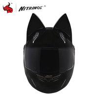 NITRINOS Men Women Personality Moto Capacete Black Cat Ears Helmet Full Face Motorcycle Helmet Fashion Motorbike