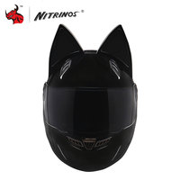 NITRINOS Men Women Personality Moto Capacete Black Cat Ears Helmet Full Face Motorcycle Helmet Fashion Motorbike