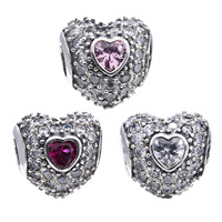 Authentic 925 Sterling Silver Crystal Stone Hearts Charm Beads Fit Original Pandora Bracelet Necklace Women Jewelry