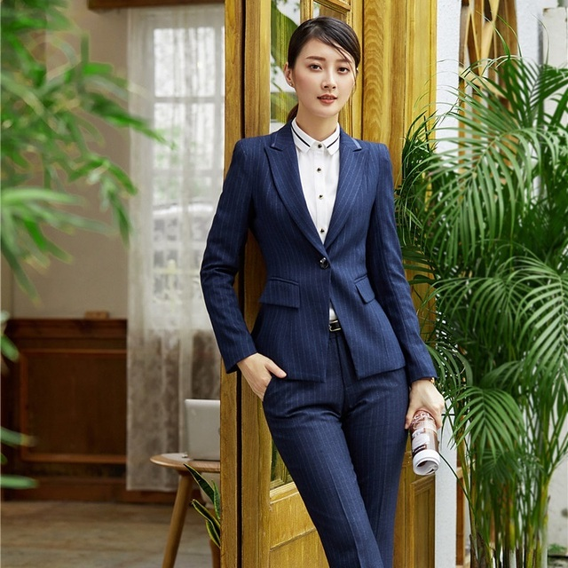 Formal Women Blazers and Jackets Navy Blue Striped Elegant Ladies Work Wear  Business Clothes Office Uniform Styles 878c2438f