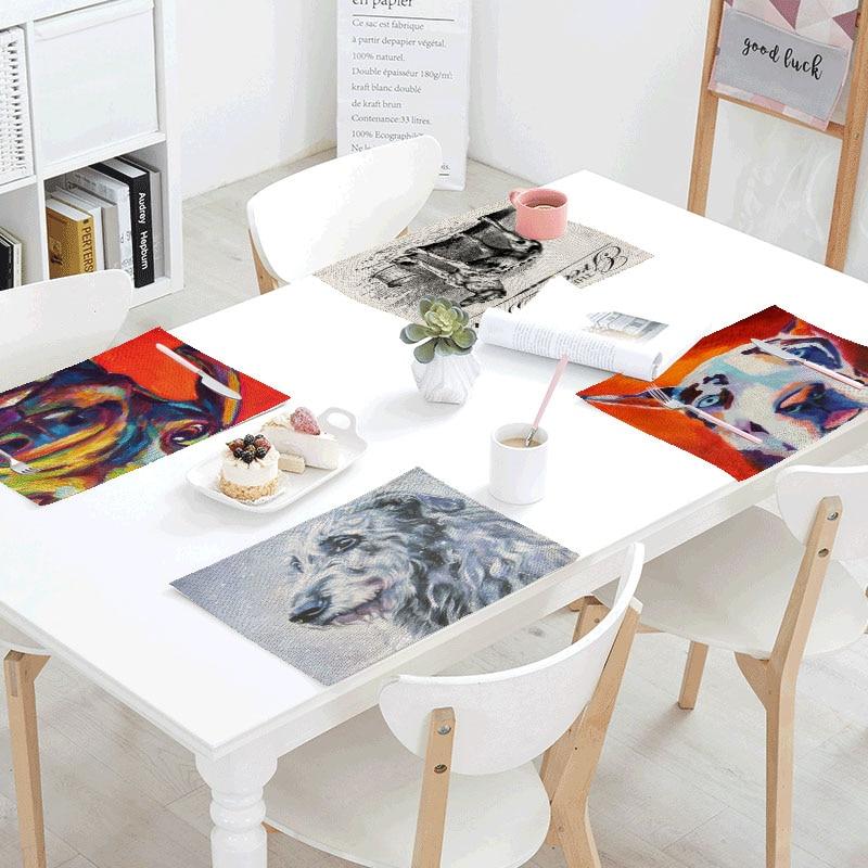 Watercolor Dog Linens Table Napkins Tea Placemat Place Mat Polyester Waves Seagull Servilletas Para Bodas Design Party Decor