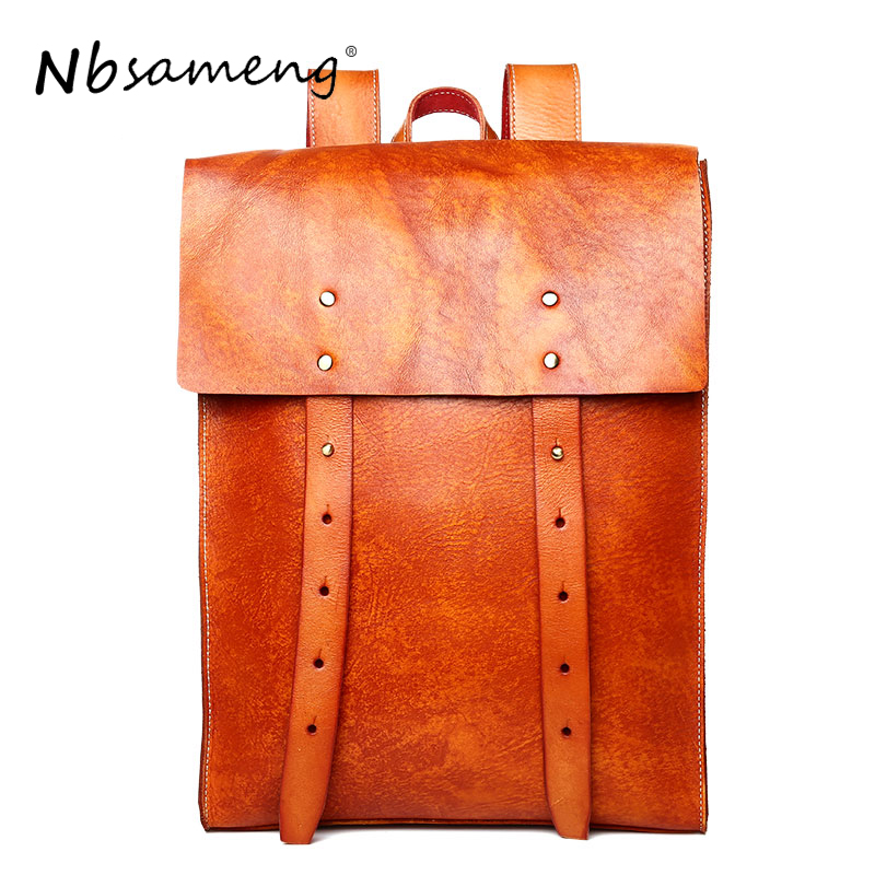 NBSAMENG Cow Leather Men Backpack Vegetable Tanned Leather man bag Causal Fashion Shoulder Bag Travel Bags For male Man Bag male bag vintage cow leather school bags for teenagers travel laptop bag casual shoulder bags men backpacksreal leather backpack