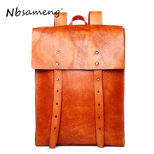 NBSAMENG Cow Leather Men Backpack Vegetable Tanned Leather man bag Causal Fashion Shoulder Bag Travel Bags