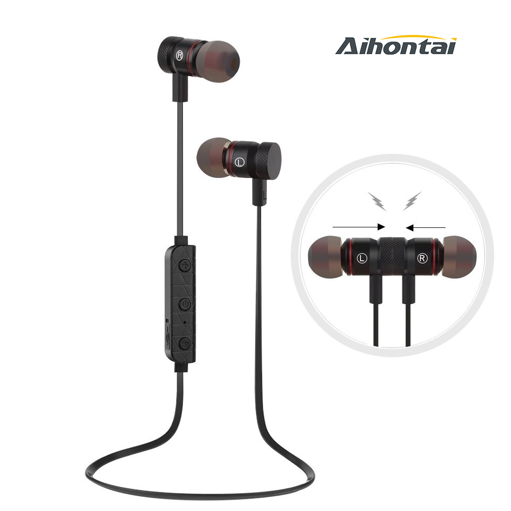 Aihontai M9 Bluetooth Headphones Wireless 4.1 Headset Noise Cancelling Magnetic Earbuds Stereo Earphones with Mic For Sport a01 bluetooth headset v4 1 wireless headphones noise cancelling with mic handsfree earpiece for driving ios android