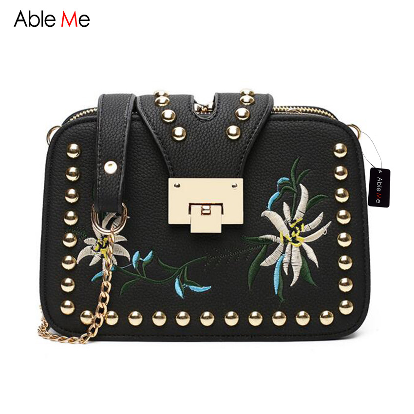 ФОТО AbleMe 2017 Summer Fashion Women Handbag Chain Shoulder Messenger Bag Small Flap Hasp Design Embroidery Crossbody Bags for Girls