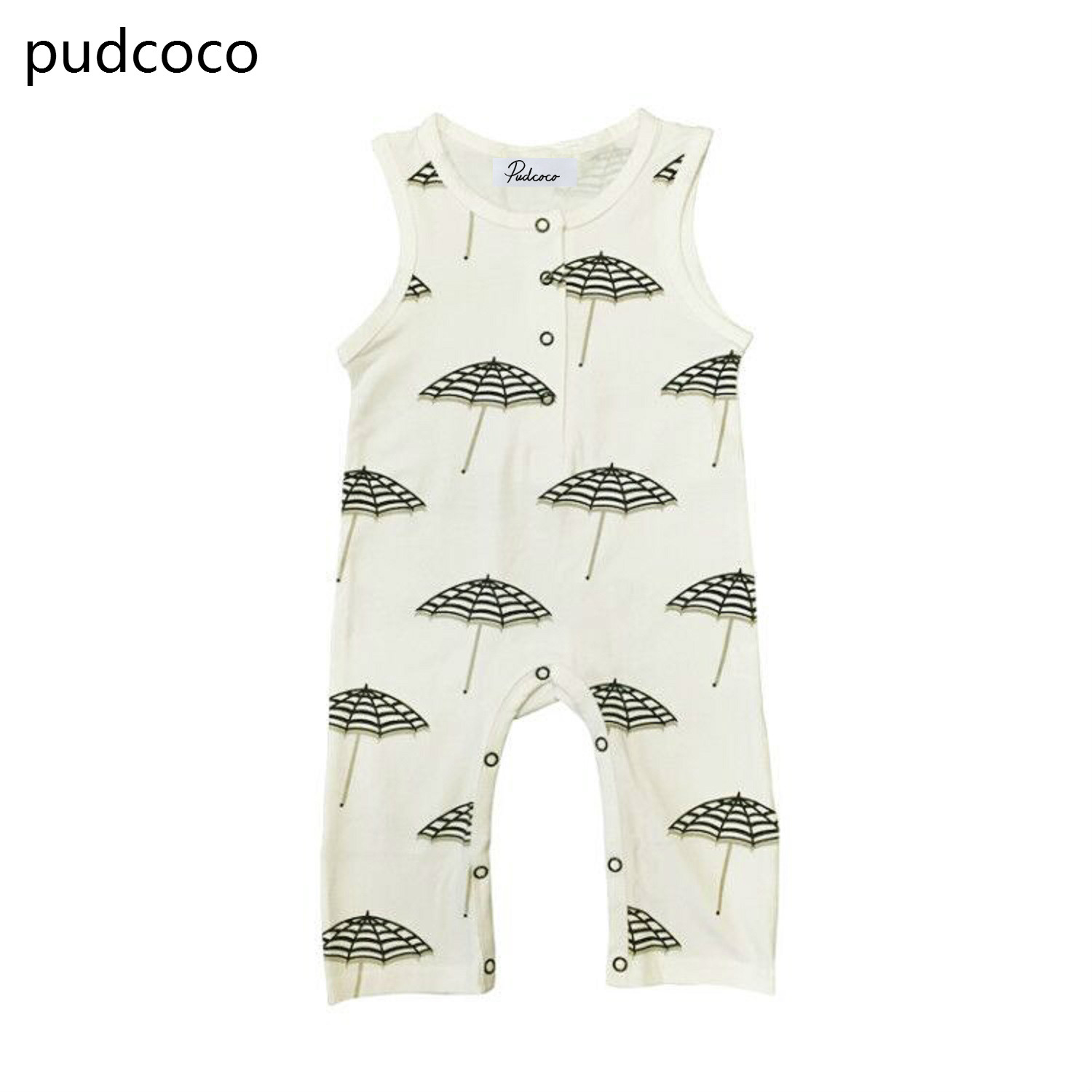 Sleeveless Baby summer   rompers   cotton Newborn Baby Boy Girl Print   Romper   Jumpsuit Outfits Clothes White Clothing 0-24M