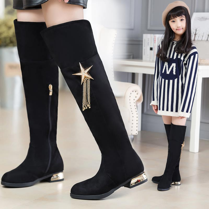 3104eee3fd1 Koovan Children Over The Knee Boots For Girls Stars And Fringed Children  2017 Autumn Winter Girls Winter Boots Plus Warm Shoes-in Boots from Mother    Kids ...