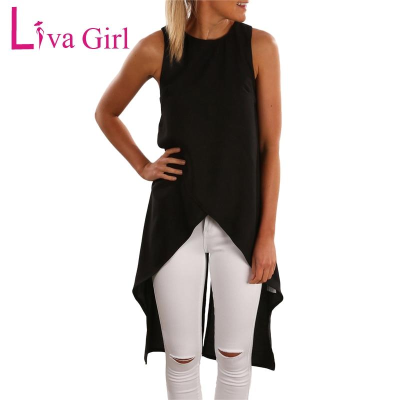 Liva Girl 2019 Summer Black White Loose High Low Chiffon Long   Tank     Top   Women Sleeveless Irregular Hem TShirt Female Vest Clothes