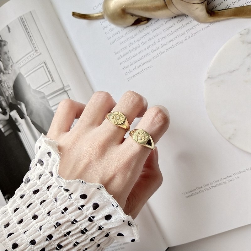 LouLeur 925 sterling silver Retro pattern open rings gold round square abstract pattern rings for women original jewelry charms
