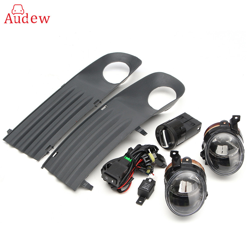 55W Front Left Right Foglight Grille Kit Set w/ Wiring Headlight Switch For VW T5 TRANSPORTER 2003-2010 new high quality door lock unlock switch for audi a4l b8 b9 q5 left front right front left rear right rear