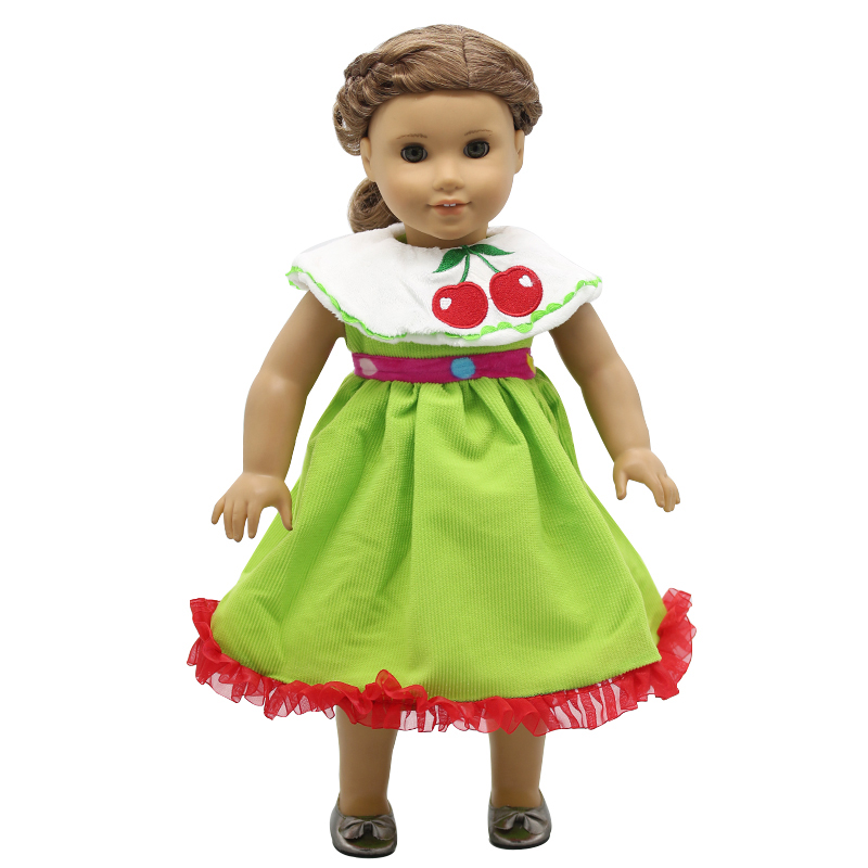 American Girl Dolls Clothing Cherry Pattern Green Princess Dress Suit for 18 inch Doll Clothes Accessories Girl X-36 handmade multicolor printing princess dress doll clothes for 18 inch dolls american girl doll clothes accessories 15 colors b 21