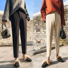 Wool Pants Female Autumn and Winter 2019 New High Waist Suit Pants Carrot Pants Korean Version of Casual Nine-minute Trousers grid carrot pants