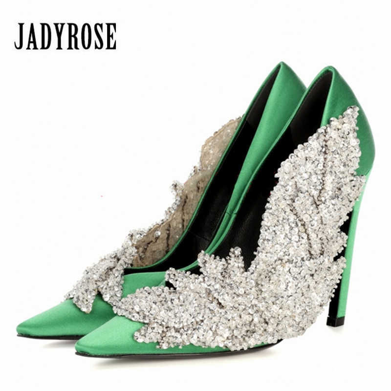 Jady Rose 2018 New Rhinestone Decor Women Pumps Satin High Heels Female Wedding Dress Shoes Woman Sexy Stiletto Valentine Shoe baoyafang white red tassels women wedding shoes bride 12cm 14cm high heels platform shoes woman high pumps female shoes
