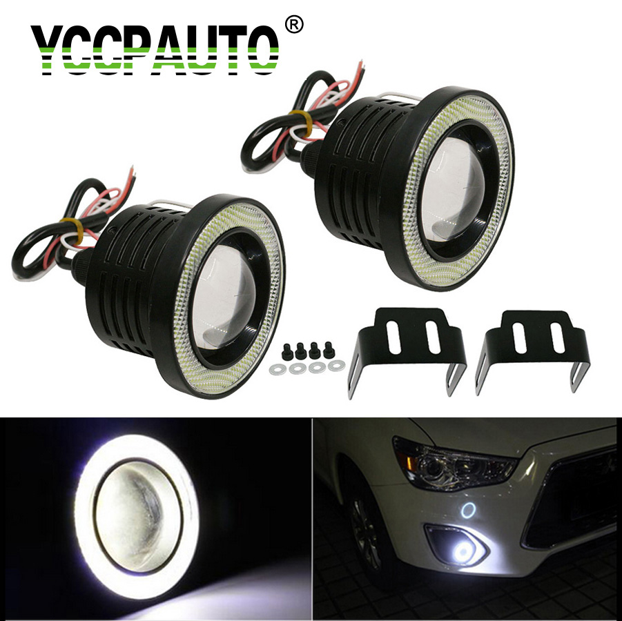 YCCPAUTO 1Set Waterproof Car LED Fog Lights Headlights COB Angle Eyes 3.5 3.0 2.5 Inch LED Daytime Running Lights 64mm 76mm 89mm