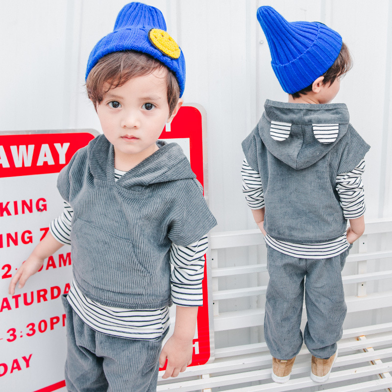 2017 boys autumn new little boy spring and autumn style cotton corduroy hooded three-piece sets 3 4 5 6 7 8 9 years old pollvers