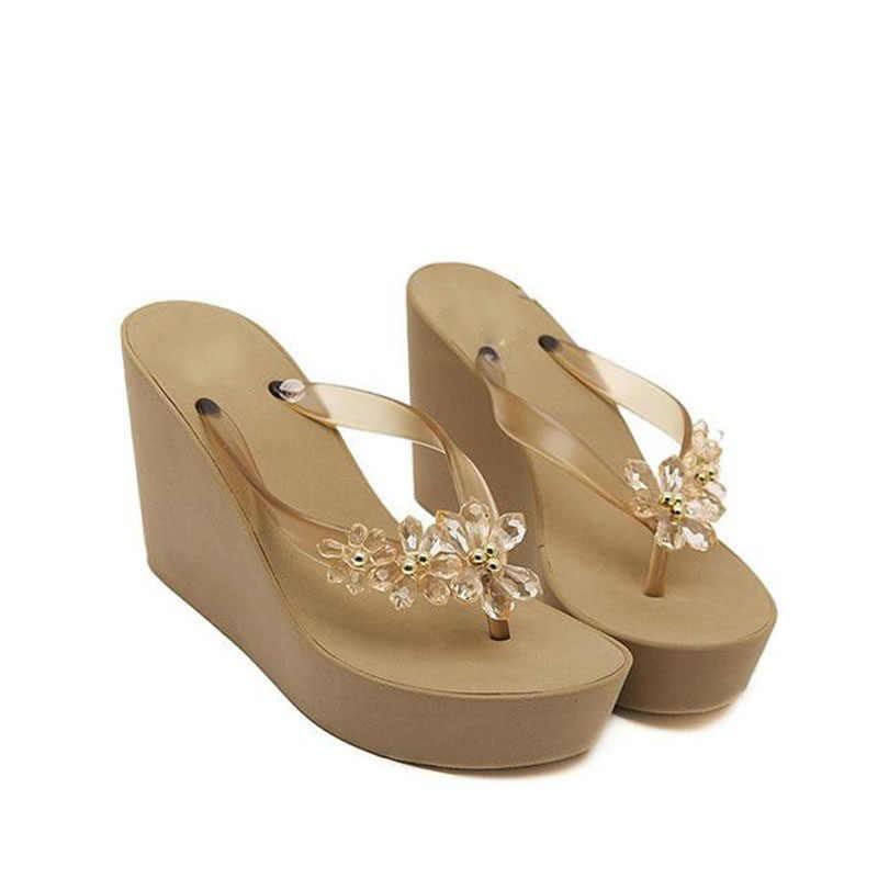 Son bahar ve yaz moda seksi kama flip-flop kalın su geçirmez serin yüksek topuklu terlik antiskid plaj ayakkabısı