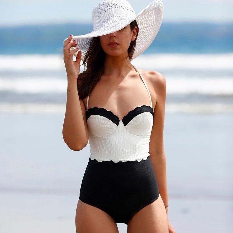 New Women Swimsuit Swimwear Sexy High Waist Bodysuit Bandeau Padded Crochet Bathing Suits new crochet