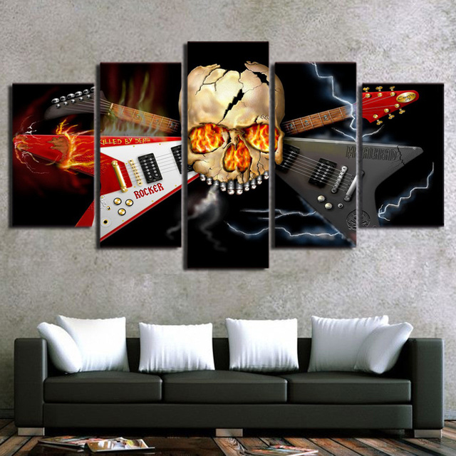 Hd Printed Canvas Poster Frame Home Decor 5 Panel Heavy Metal Band Skull Guitar Living Room