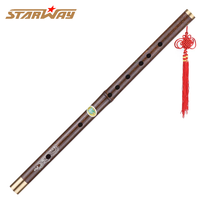 STARWAY Professional Black Bamboo Flute Traditional Handmade Chinese Musical Woodwind Instrument Key Of C Study Level